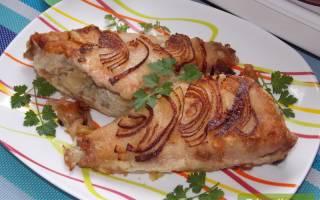 Рецепты для двухсторонней сковороды: Жареный морской окунь с луком