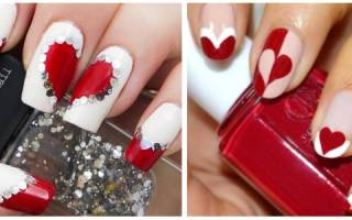 Модный красно-белый маникюр на 14 февраля (День святого Валентина) в 2019 году