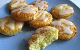 Кексики на кефире с манкой, покрытые сахарной глазурью
