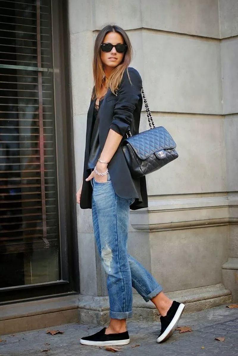 Слипоны с укороченными джинсами