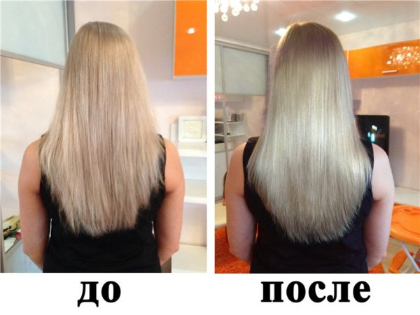 Волосы до и после экранирования