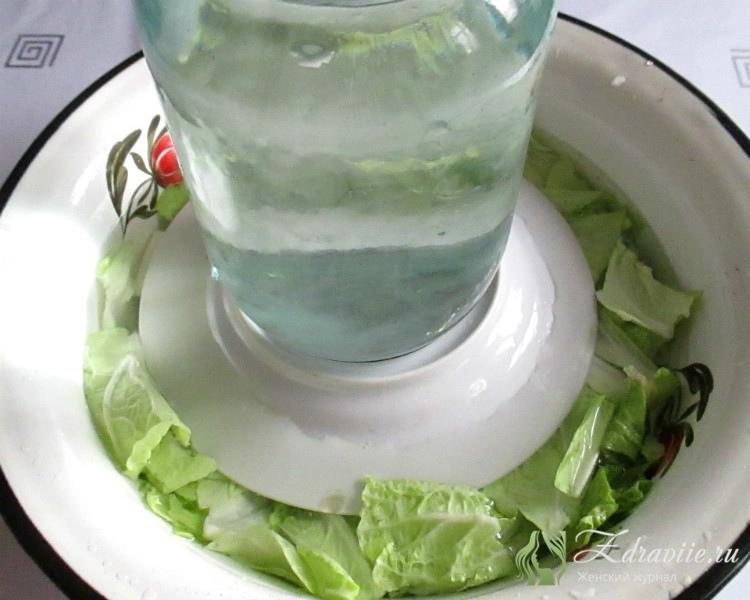 Залить холодной водой,придавить сверху тарелкой с грузо, оставить на 40 минут