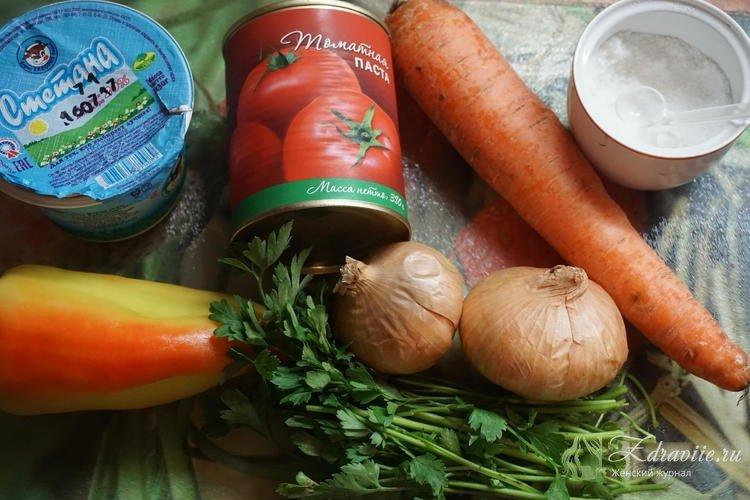 Ингредиенты для приготовления хека с овощами