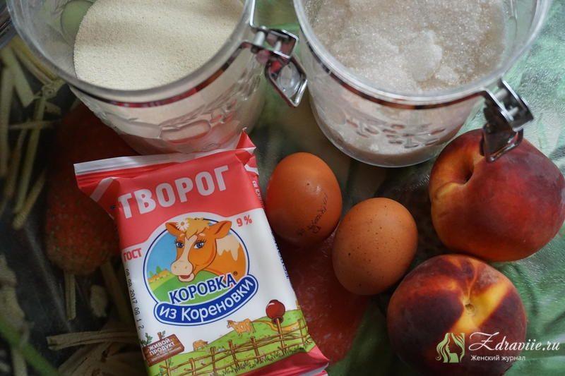 Ингредиенты для приготовления запеканки с персиками