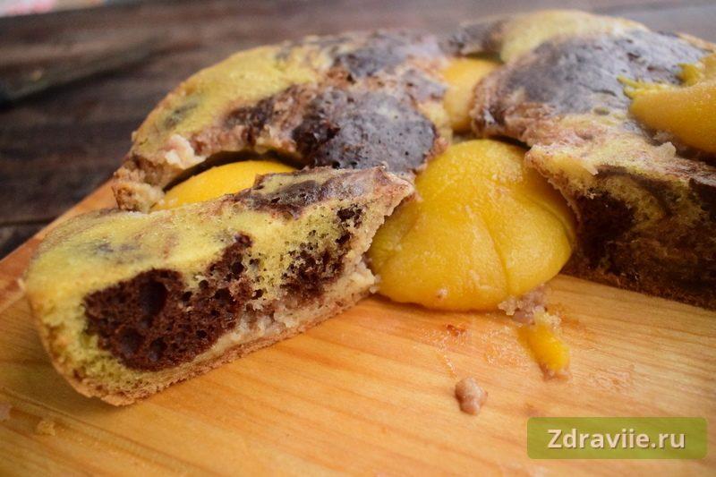 Пирог с консервированными персиками в мультиварке рецепт