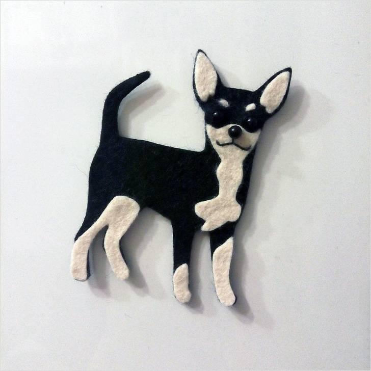 магнитик на холодильник собака, своими рукам