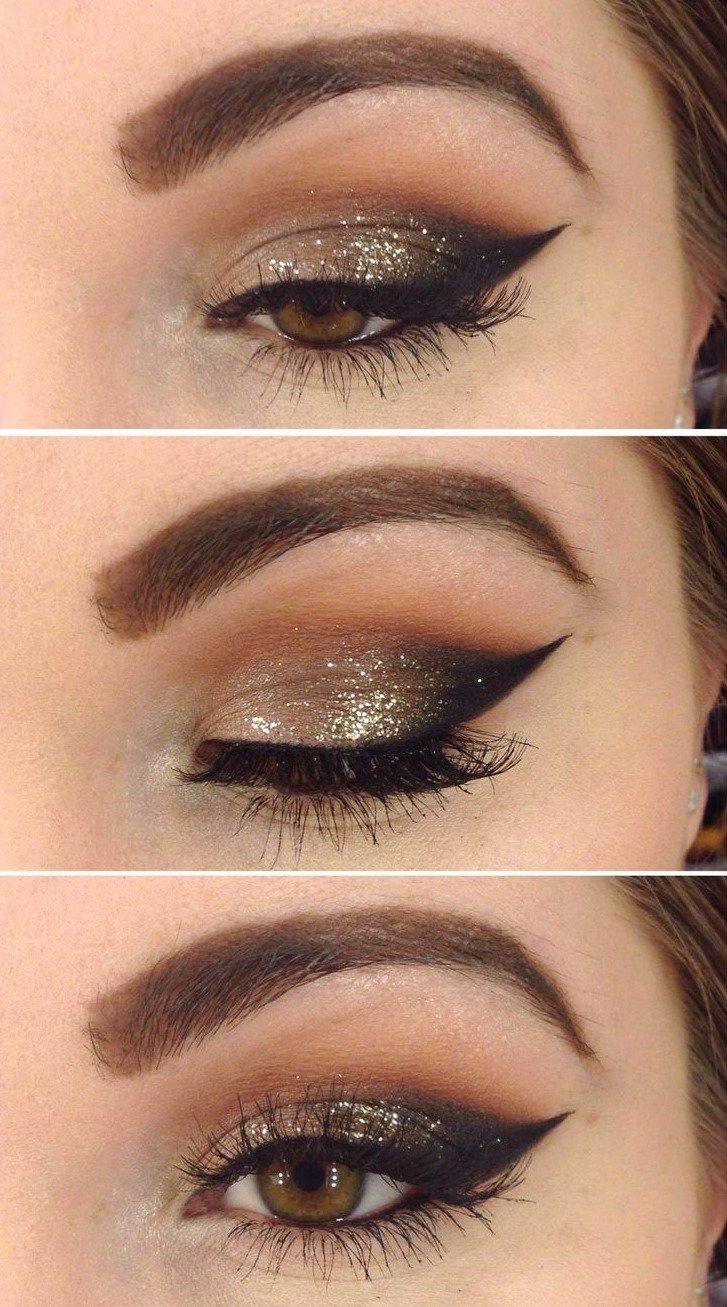 Макияж глаз с коричневыми тенями без стрелок