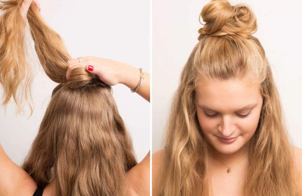 Простая прическа на средние волосы - ретро