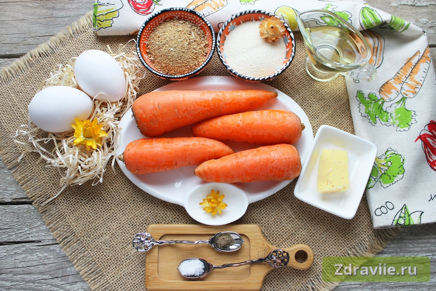 Необходимые продукты для морковных котлет с сыром