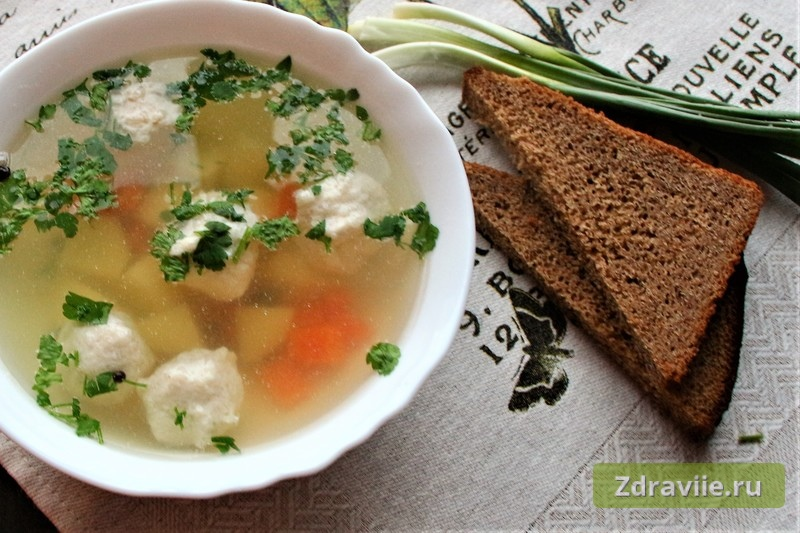 Рецепт: Суп с куриными фрикадельками