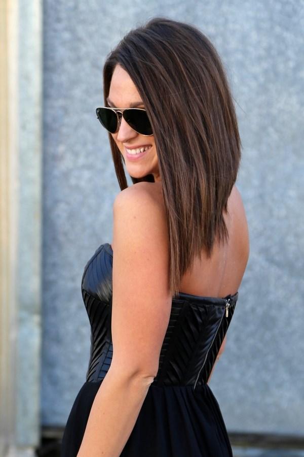 удлиненный боб на длинные волосы
