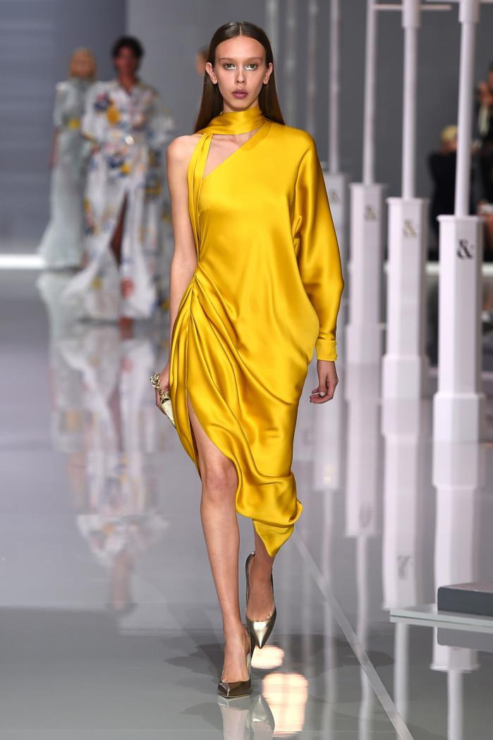 новогоднее желтое платье шелковое