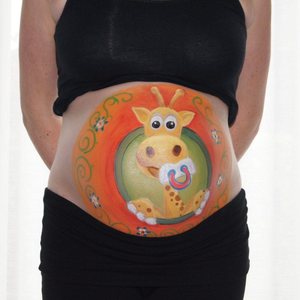 рисунок у беременной на животе жираф