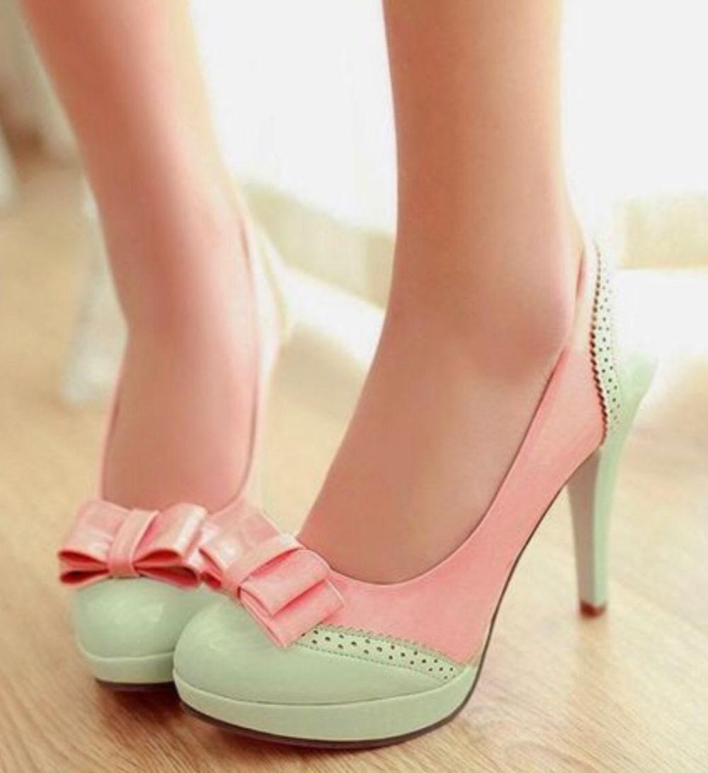 нежные туфли с бантиками для выпускного