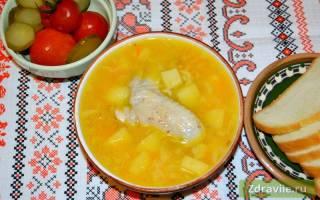 Суп гороховый на курином бульоне в мультиварке