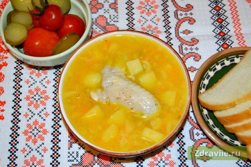 Гороховый суп на курином бульоне в мультиварке