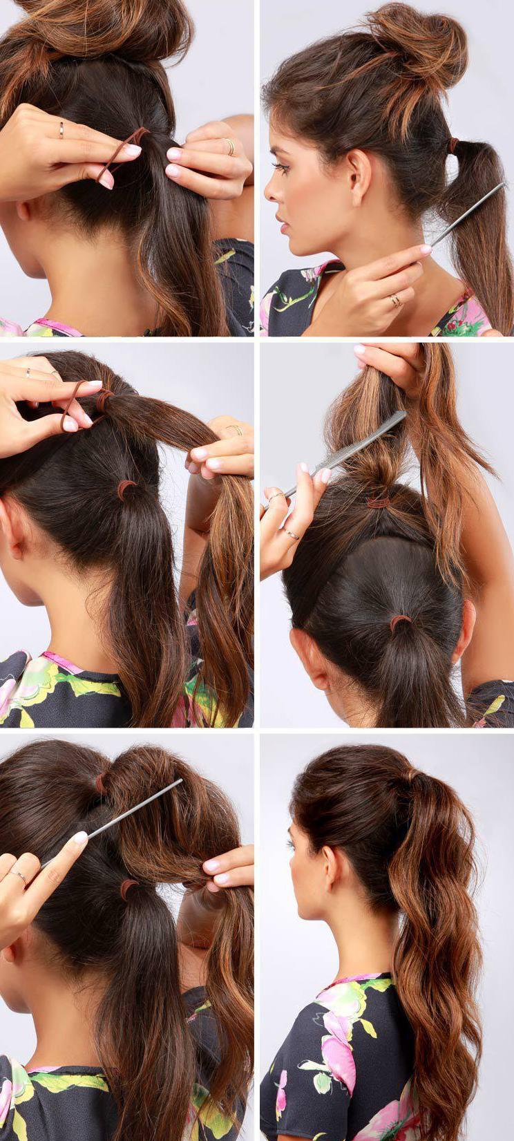 фото Простых причесок на средние волосы своими руками - 5